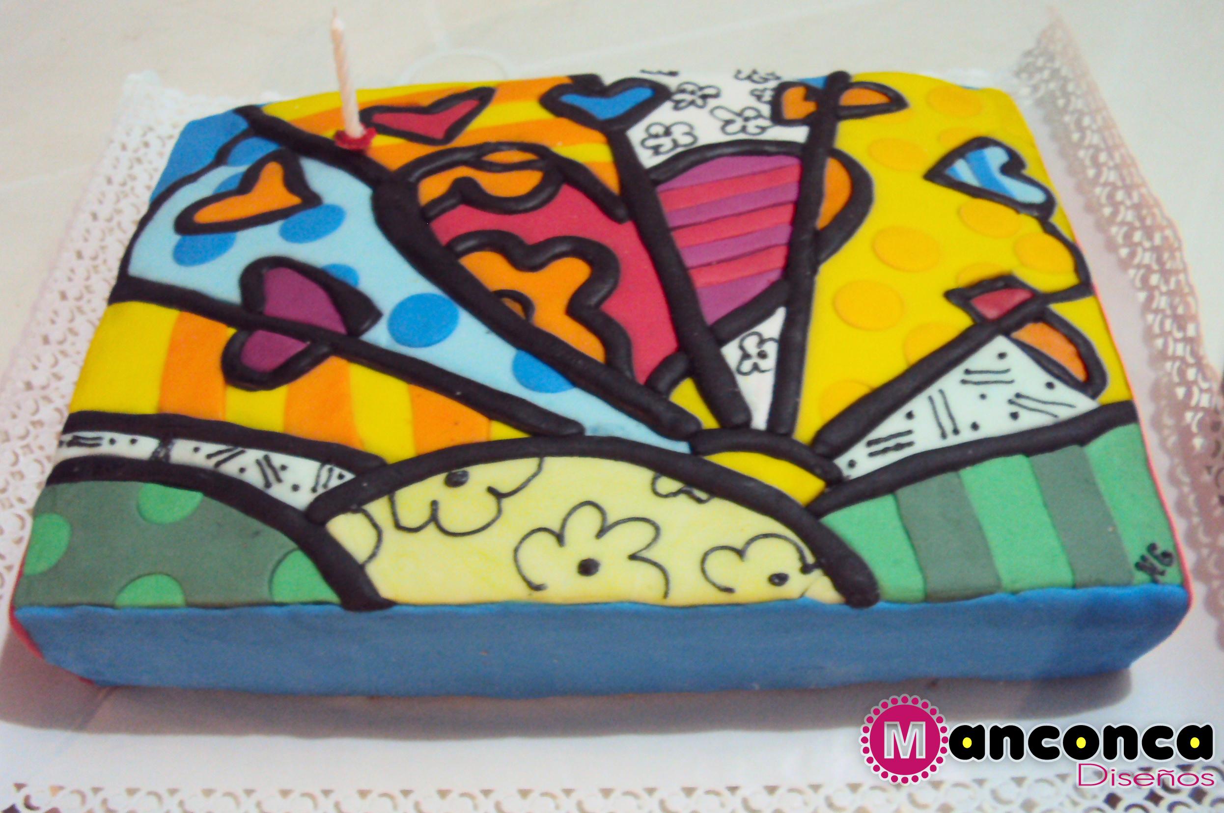 Torta de cumpleaños. Corazones Britto